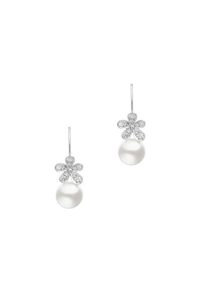 Mikimoto - White Gold White Pearl White Diamond Earrings
