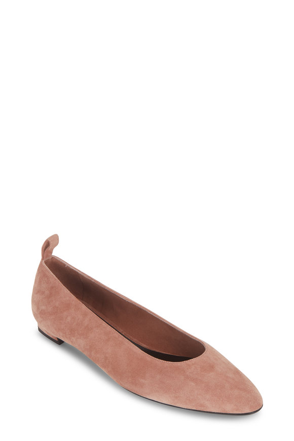 The Row Lady D Pale Flamingo Suede Ballerina Flat