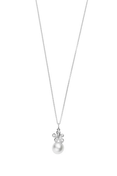 Mikimoto - White Gold White Pearl Diamond Pendant