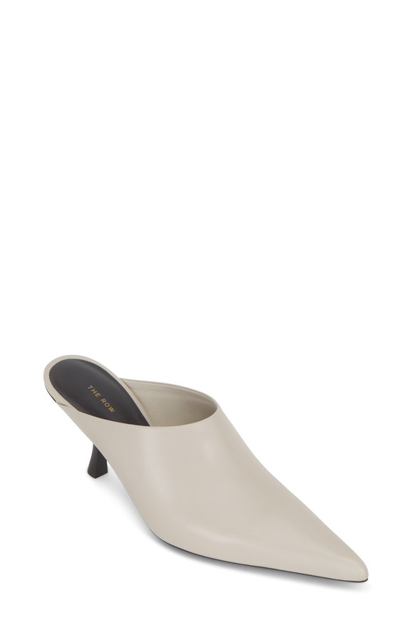 The Row Bourgeoisie Pearl Gray Leather Mule, 65mm