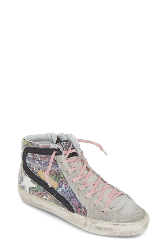 Golden Goose Slide Multicolor Paillettes High Top Sneaker