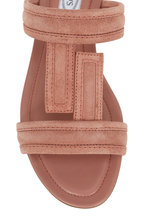 Tod's - Warm Pink Suede Double-Band Flat Sandal