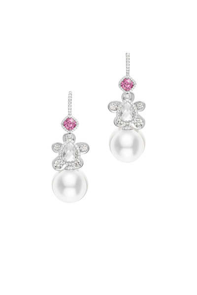 Mikimoto - Gold White Pearl Pink Spinel Diamond Earrings