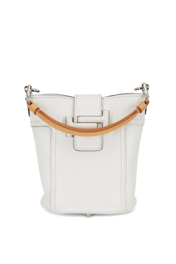 Tod's Double T White Leather Small Bucket Crossbody Bag