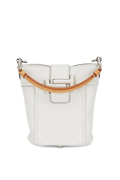 Tod's - Double T White Leather Small Bucket Crossbody Bag