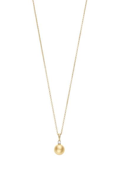 Mikimoto - Yellow Gold Pearl White Diamond Pendant