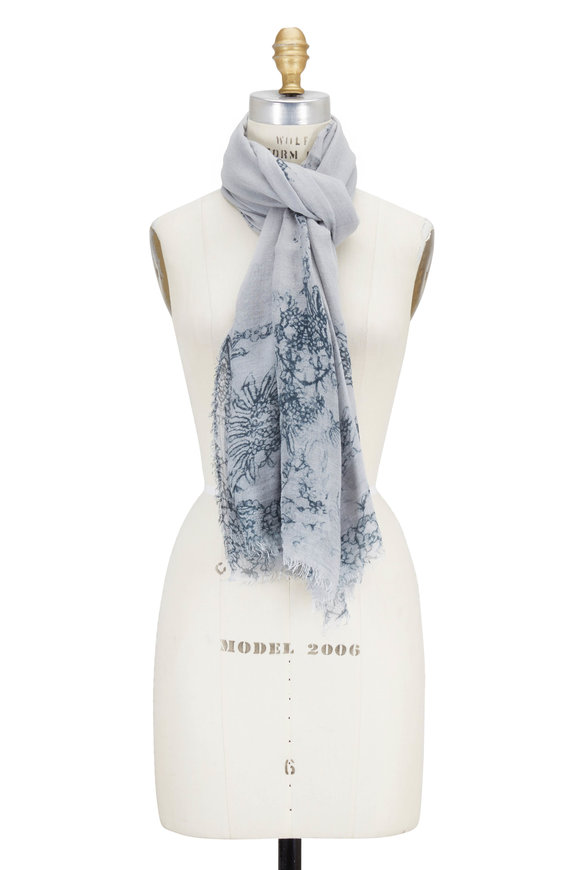 Faliero Sarti Beata Light Gray Lace Effect Scarf