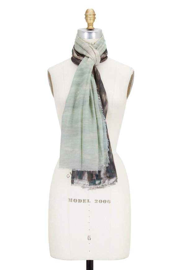 Faliero Sarti Green & Black Waterfall Printed Scarf