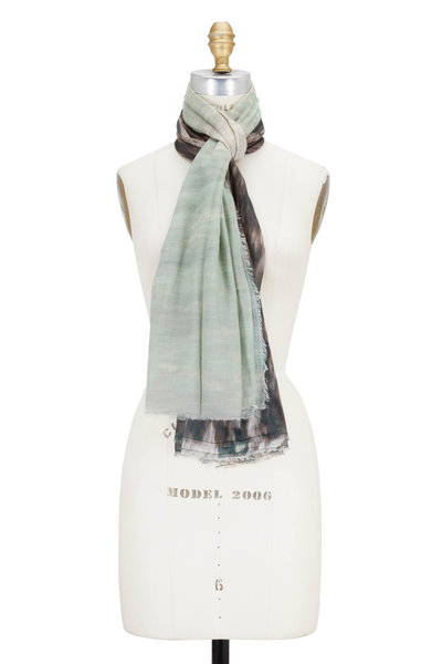 Faliero Sarti - Green & Black Waterfall Printed Scarf