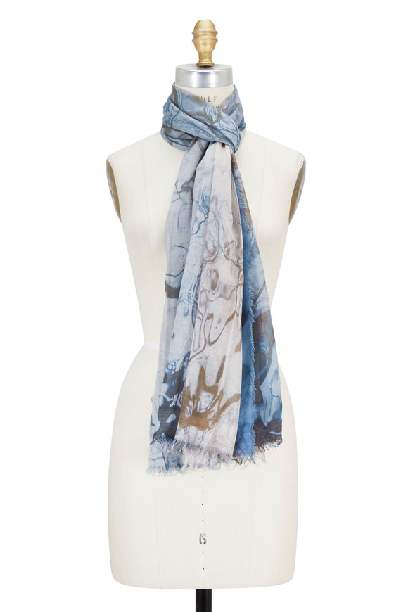 Faliero Sarti Blue Water Waves Printed Scarf