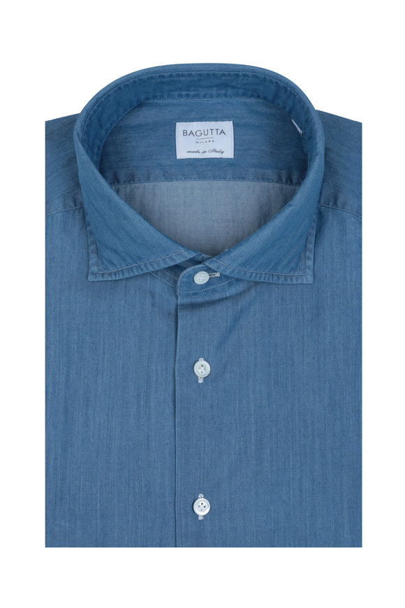 Bagutta Solid Blue Denim Dress Shirt