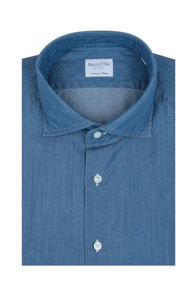 Bagutta - Solid Blue Denim Dress Shirt