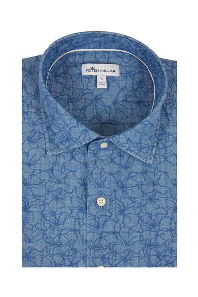 Peter Millar - Blue Floral Chambray Sport Shirt