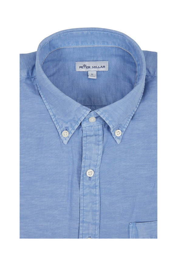 Peter Millar Light Blue Garment Dyed Sport Shirt