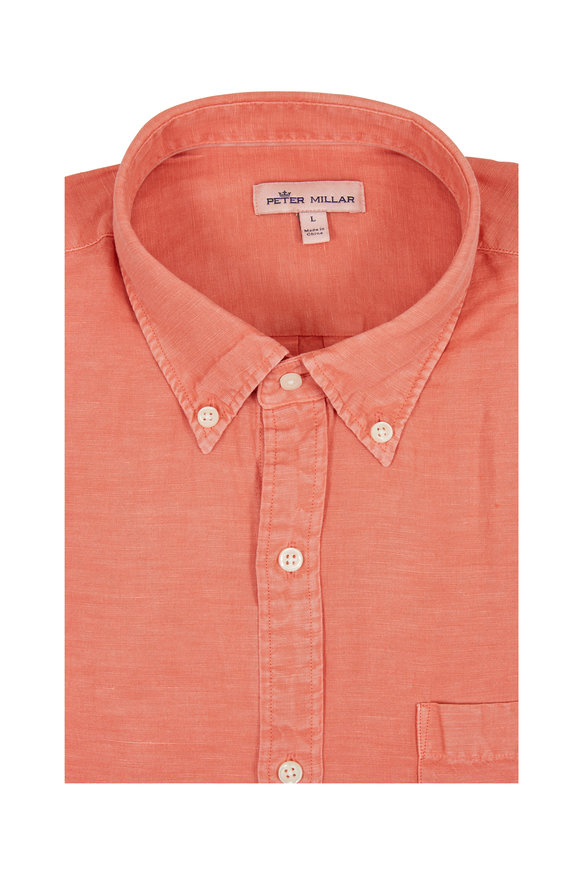 Peter Millar Red Garment Dyed Sport Shirt