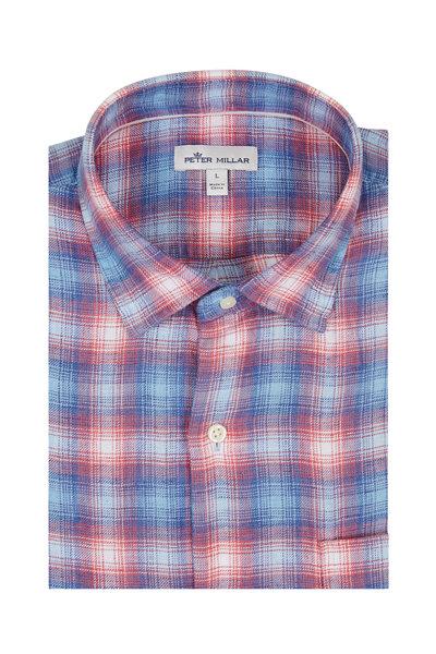 Peter Millar - Coastal Red & Blue Plaid Short Sleeve Sport Shirt
