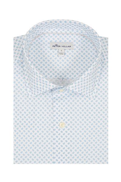 Peter Millar - Seaside Light Blue Leaves Short Sleeve Sport Shirt