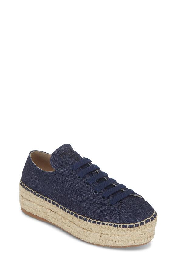 Prada Blue Denim Espadrille Wedge Sneaker