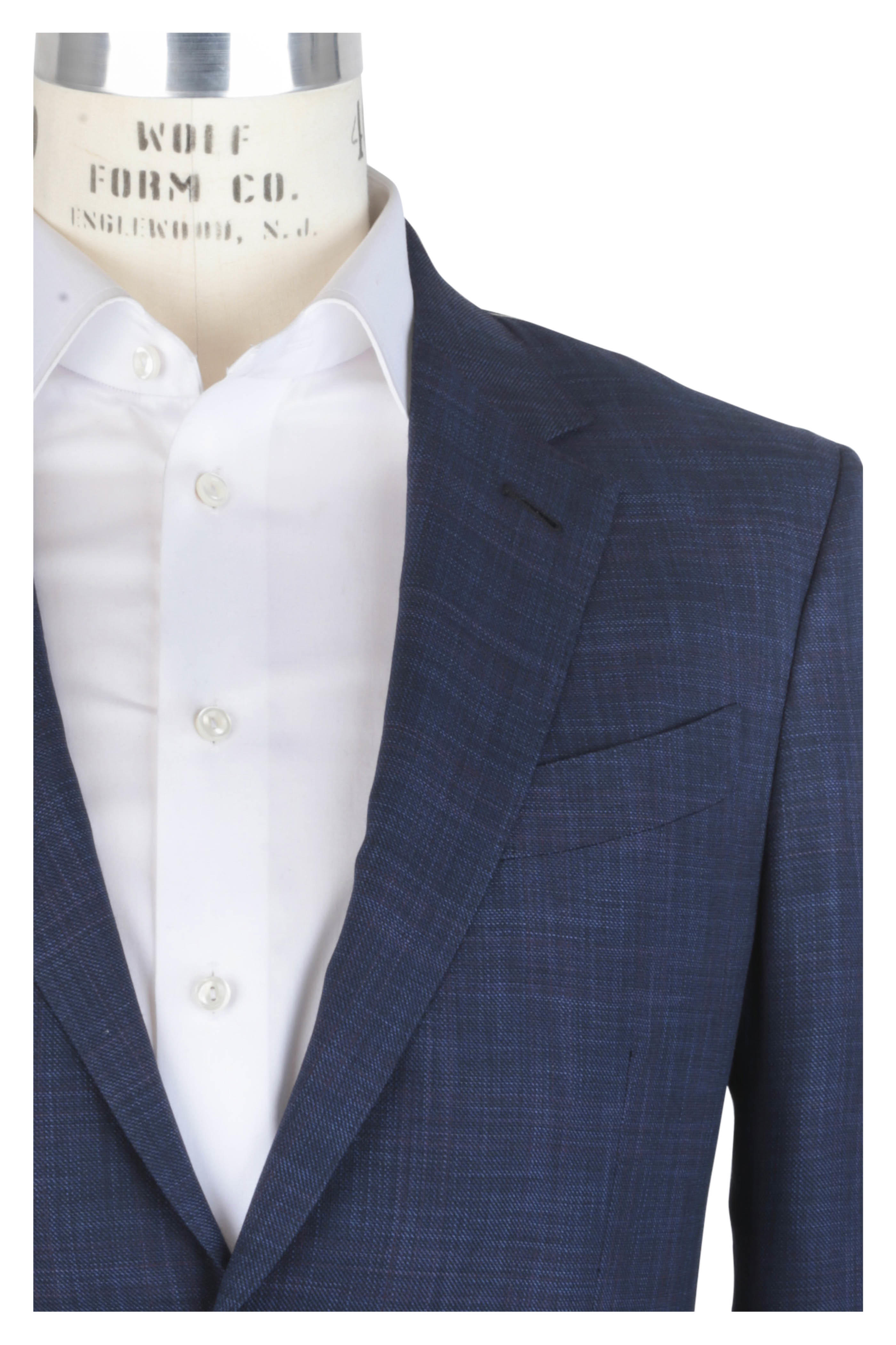 6288fbfc Ermenegildo Zegna - Navy Blue & Wine Wool & Silk Windowpane ...