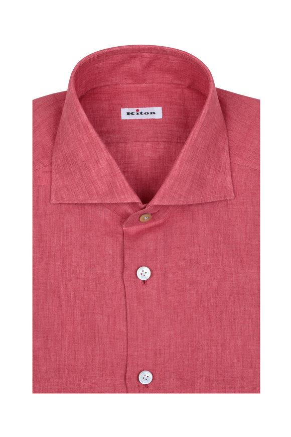 Kiton Salmon Linen Sport Shirt