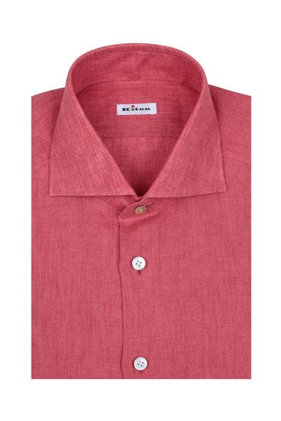 Kiton - Salmon Linen Sport Shirt