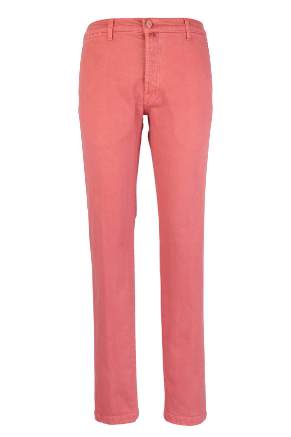 Kiton Red Stretch Cotton Five Pocket Pant