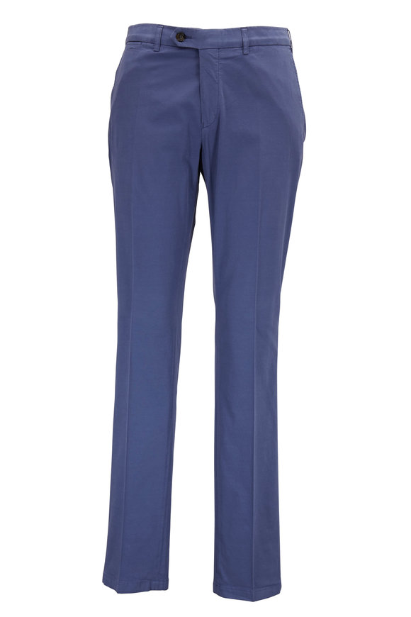 Canali Blue Flat Front Stretch Cotton & Silk Pant