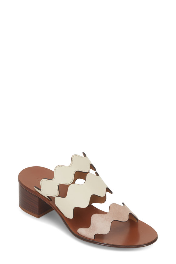 Chloé Taupe Scalloped Multi Strap Slide, 40mm