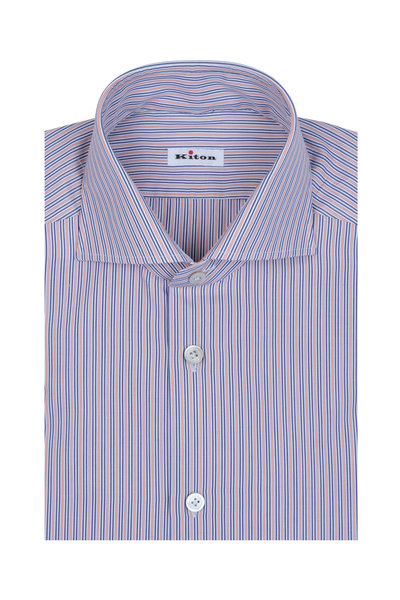 Kiton - Orange & Blue Striped Dress Shirt