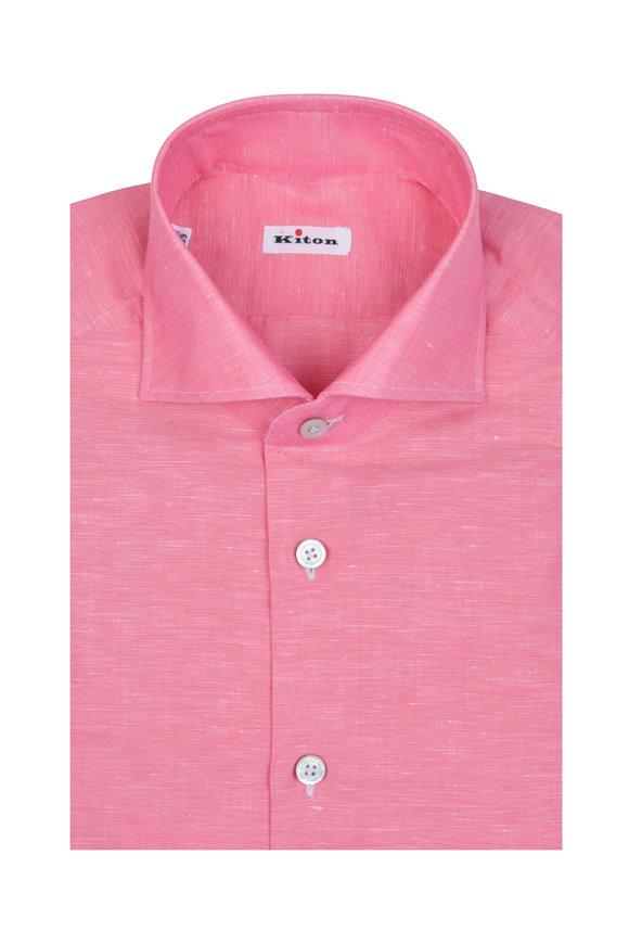 Kiton Pink Linen Blend Dress Shirt