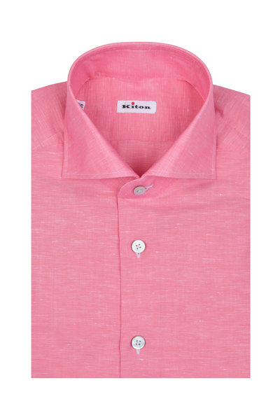 Kiton - Pink Linen Blend Dress Shirt