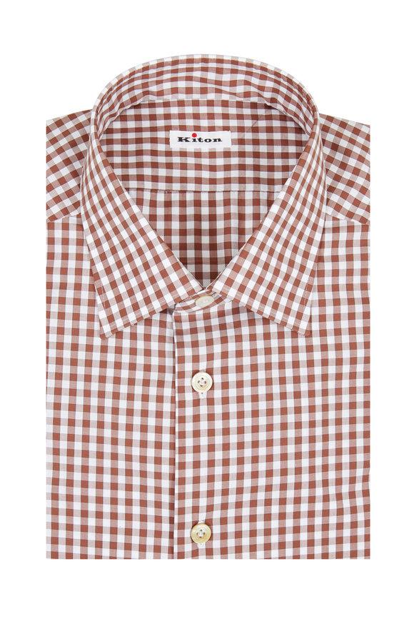 Kiton Brown Gingham Dress Shirt
