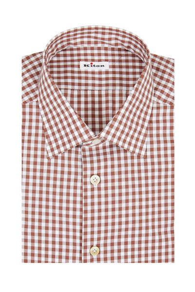 Kiton - Brown Gingham Dress Shirt