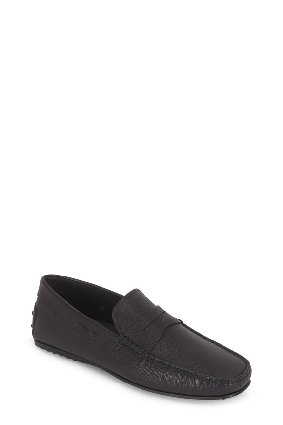 Tod's City Gommini Black Grained Leather Penny Driver