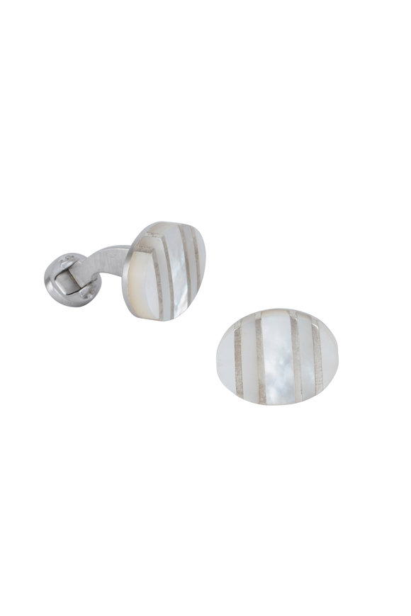 Jan Leslie Oval Mother Of Pearl Stripe Cuff Links