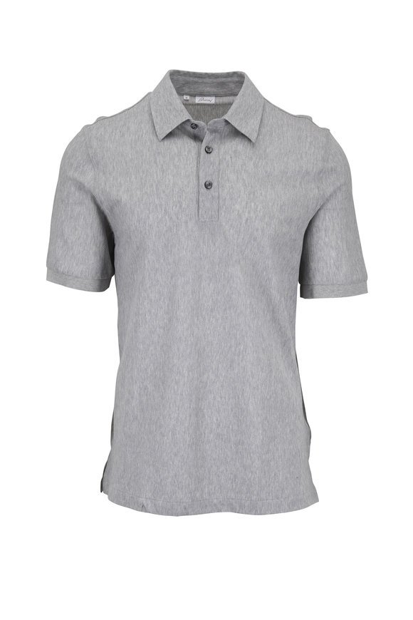 Brioni Light Gray Textured Polo
