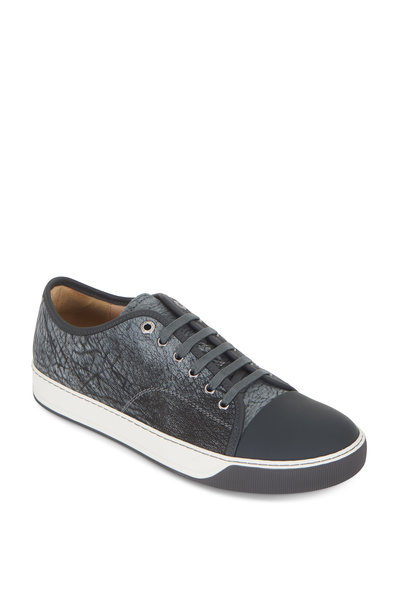 Lanvin - Greay Textured Leather Cap-Toe Sneaker