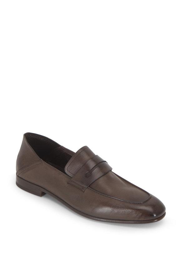 Ermenegildo Zegna L'Asola Medium Brown Leather Convertible Loafer