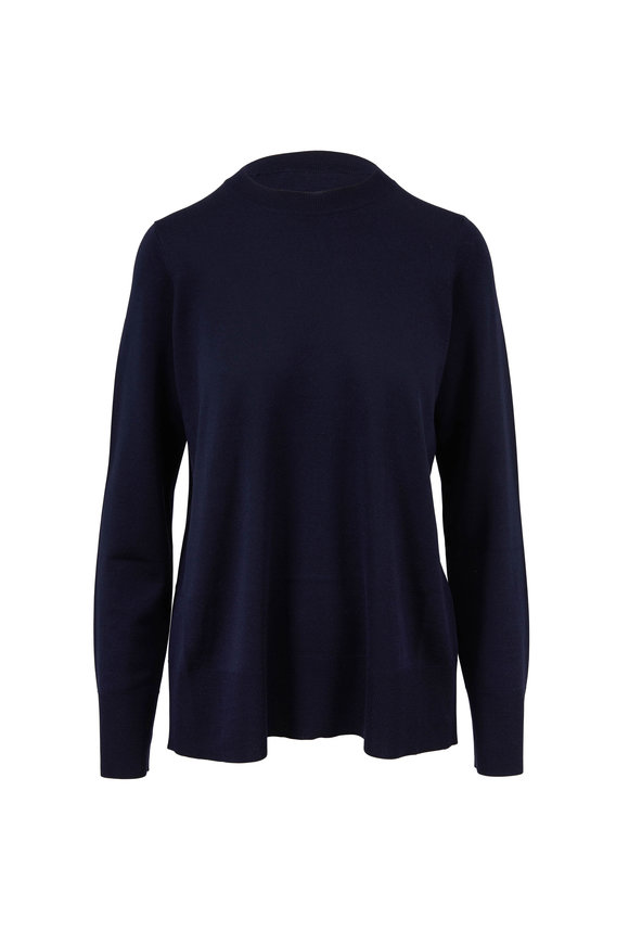 The Row Sebellia Dark Navy Knit Cashmere Sweater