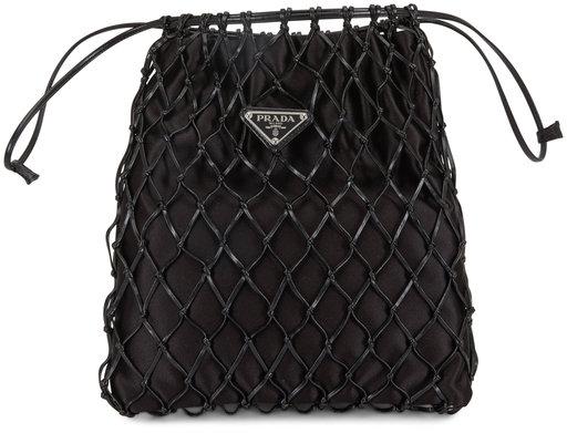 Prada Black Satin & Leather Net Overlay Small Crossbody