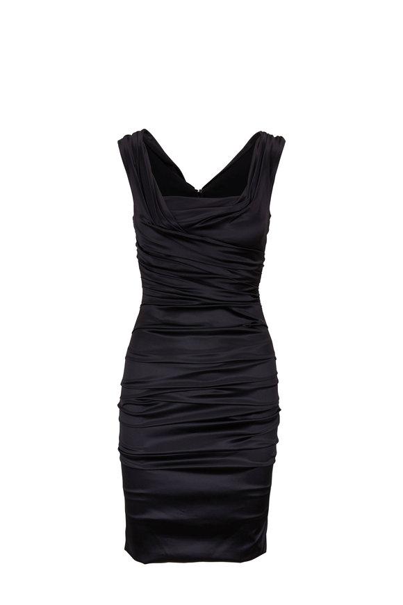 Dolce & Gabbana Black Stretch Silk Ruched Cocktail Dress