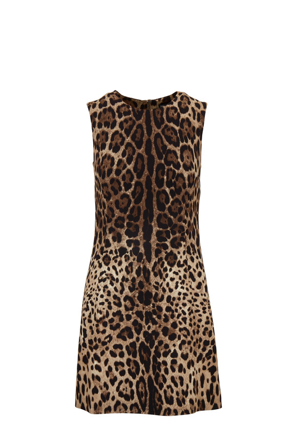 Dolce & Gabbana Black & Brown Leopard Mini Dress