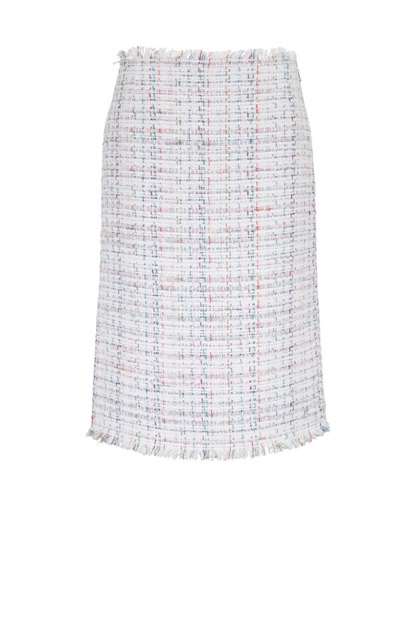 Thom Browne White Oxford Ribbon Tweed Low-Rise Pencil Skirt