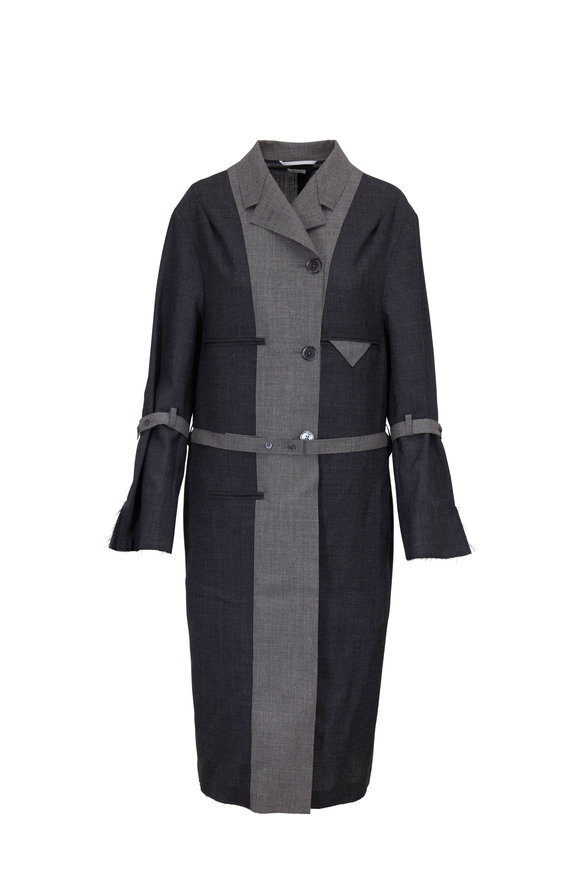 Thom Browne Chesterfield Dark & Light Gray Wool Long Coat