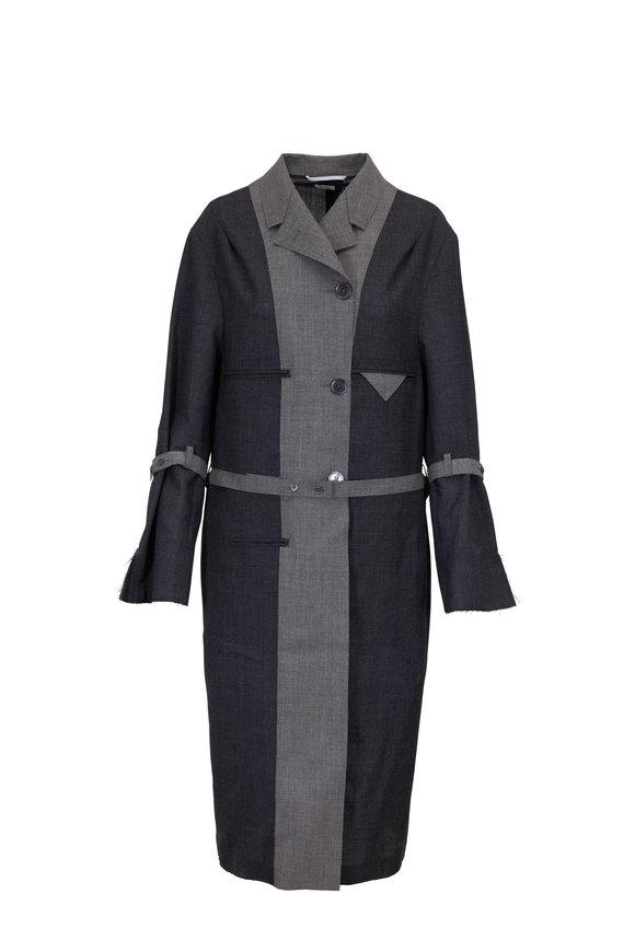 Thom Browne Chesterfield Dark & Light Gray Wool Long Jacket