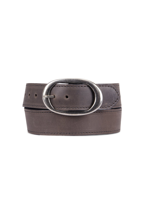 Kim White Oval Classic Grey Smooth Leather Belt