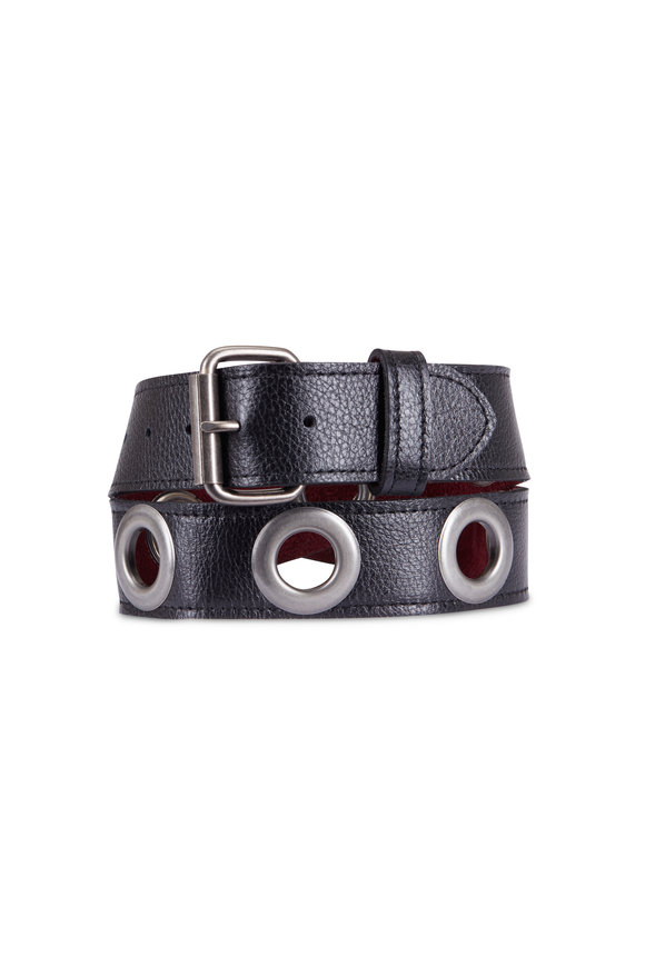 Kim White Black Grommet Belt