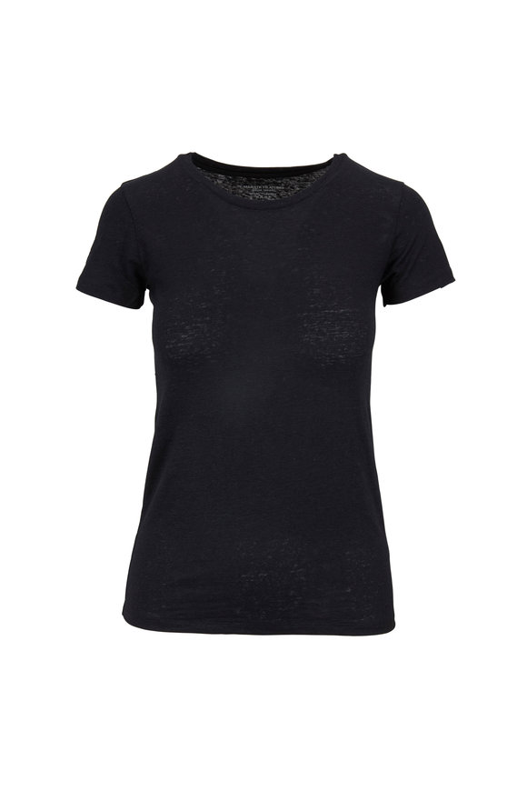 Majestic Black Linen Crewneck Deluxe T-Shirt