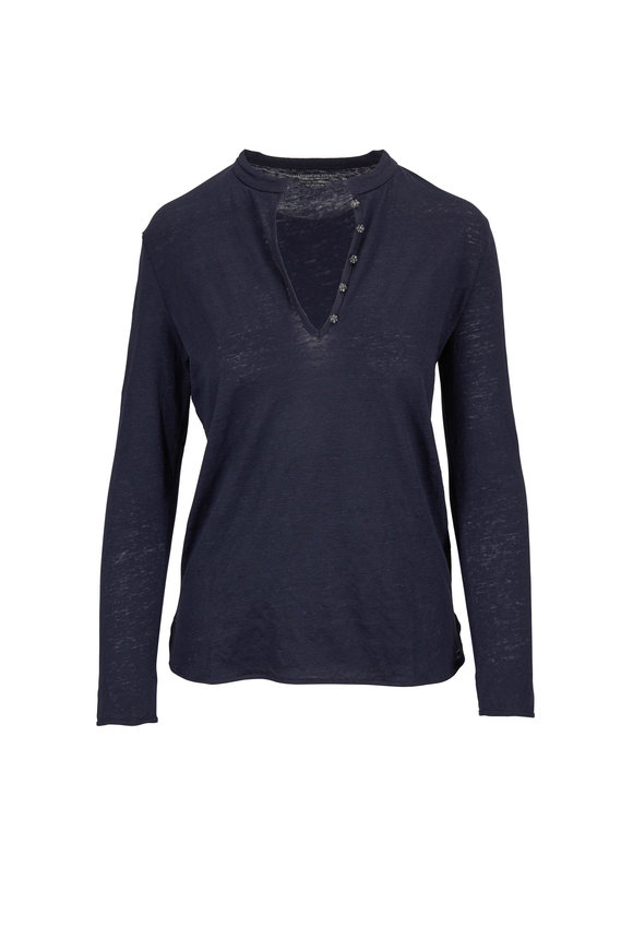 Majestic Dark Blue Crystal Detail Deluxe T-Shirt