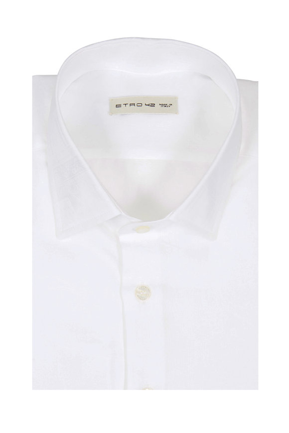 Etro White Tonal Paisley Sport Shirt